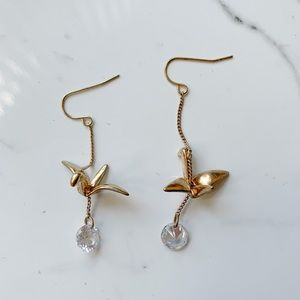 Gold Origami Crane Crystal Jewel Dangle Earrings